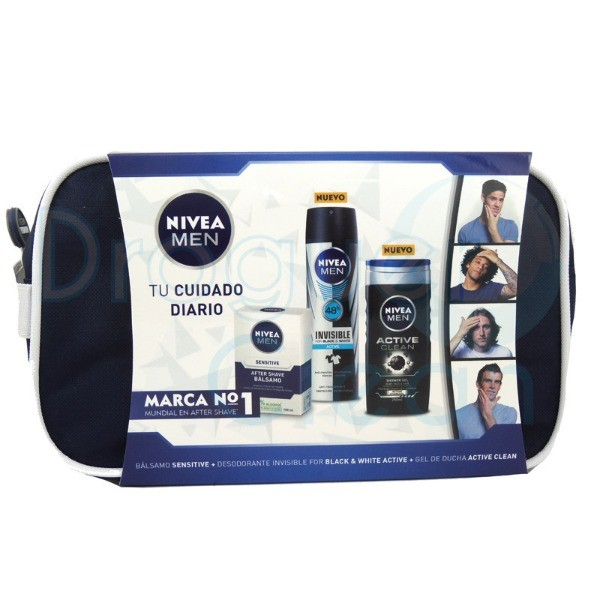 Nivea Men Neceser Bálsamo Sensitive + Deo Invisible Black & White + Gel Active Clean